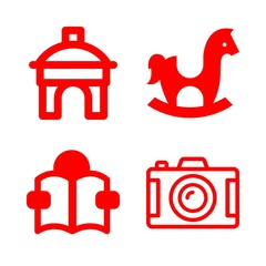 fun icons set with rocking horse, person learning by reading and photo camera vector set