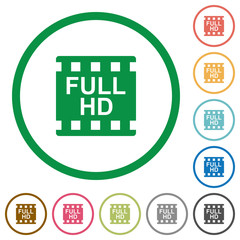 Full HD movie format flat icons with outlines