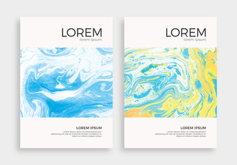 Minimalistic Flyer Layout with Marbling Textures