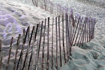 Fence on a sandy beach