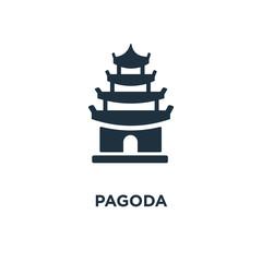 Pagoda icon. Black filled vector illustration. Pagoda symbol on white background.