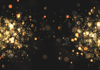 Christmas golden lights. Background of bright glow bokeh. Wall mural