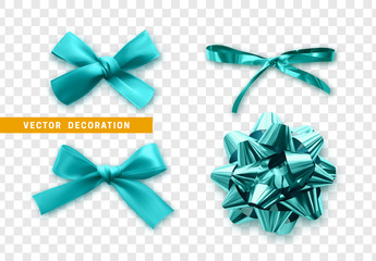 Bows color blue realistic design. Isolated gift bows with ribbons with shadow.