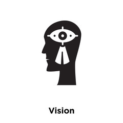 vision icon vector isolated on white background, logo concept of vision sign on transparent background, black filled symbol icon