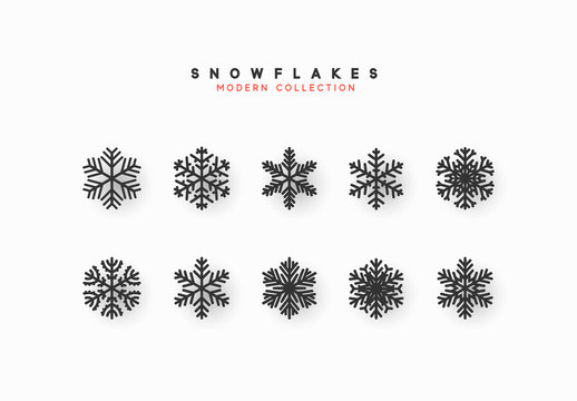 Set vector snowflakes. Collection of snowflake winter decoration. Isolated on white background.