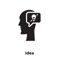 idea icon vector isolated on white background, logo concept of idea sign on transparent background, black filled symbol icon