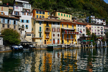 View of Gandria village near Lugano from the lake, canton of Ticino, Switzerland