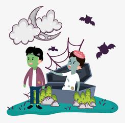 Halloween kids celebration cartoons