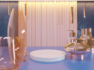 cafe background for show or present promotion product concept 3d  illustration, render.