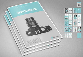 Business Proposal Layout with Blue Accents