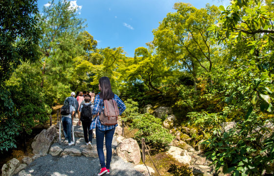 "Tourists walking in Kinkakuji Temple "" The Golden Pavilion"" in Kyoto, Japan"