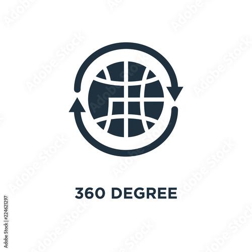 360 Degree Icon Black Filled Vector Illustration 360 Degree Symbol