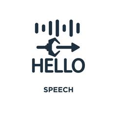 Speech icon. Black filled vector illustration. Speech symbol on white background.
