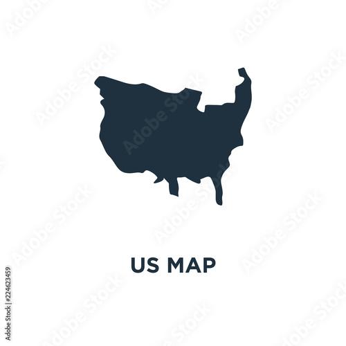 US map icon. Black filled vector illustration. US map symbol on ...