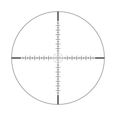 Sniper scope, scale. Crosshairs with tick marks. Icon. Vector concept of target search. Element isolated on light background, pattern.