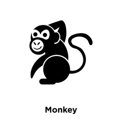 monkey icon vector isolated on white background, logo concept of monkey sign on transparent background, black filled symbol icon