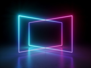 3d render, abstract fluorescent background, laser show, night club interior lights, pink blue...