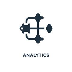 Analytics icon. Black filled vector illustration. Analytics symbol on white background.