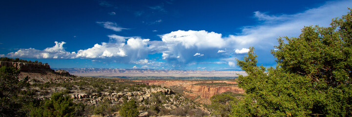 Panorama of the canyons, bluffs, trees, distant mountains, and vast sky of Colorado National Monument