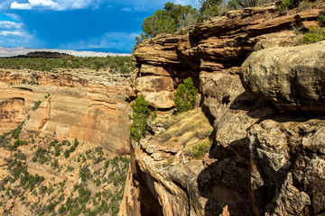 Detailed closeup view of the rocky walls of Colorado National Monument near the towns of Grand Junction and Fruita