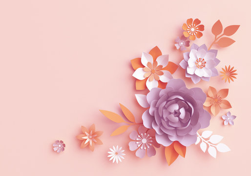 3d render, fall paper flowers, autumn botanical arrangement, floral clip art, bouquet isolated on pastel pink background, corner element, nursery wall decor, baby shower, peony, daisy, rose, leaves