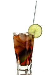 Cola With Ice Cubes, Lime And Straw In Glass