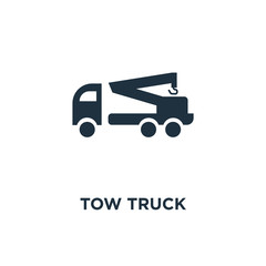 Tow truck icon. Black filled vector illustration. Tow truck symbol on white background.