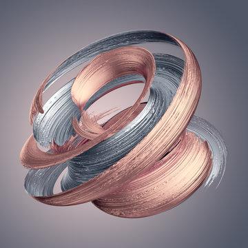 3d render, abstract metallic brushstroke, rose gold, silver paint smear, splashing platinum shape, shiny foil, ribbon, isolated clip art