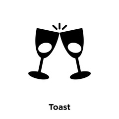 Toast icon vector isolated on white background, logo concept of Toast sign on transparent background, black filled symbol