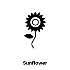 sunflower icon vector isolated on white background, logo concept of sunflower sign on transparent background, black filled symbol icon