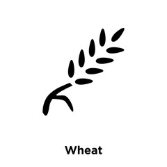 wheat icon vector isolated on white background, logo concept of wheat sign on transparent background, black filled symbol icon