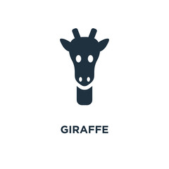 Giraffe icon. Black filled vector illustration. Giraffe symbol on white background.