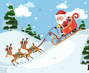 Santa claus riding sleigh
