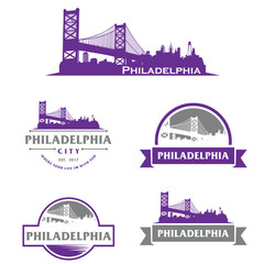 Wall Mural - Philadelphia Logo, Skyline, City, Cityscape Logo Vector