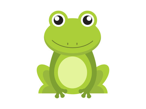 Green frog cartoon character isolated on white background