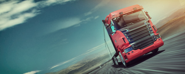 The truck running on the road speed. . 3d rendering and illustration. Wall mural