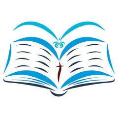 An open Bible and a flying bird, Holy Spirit