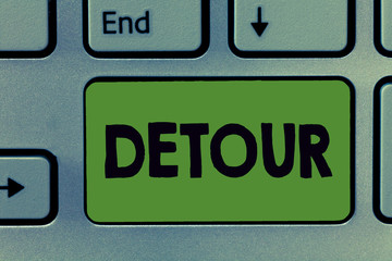 Text sign showing Detour. Conceptual photo long or roundabout route taken to avoid something or visit somewhere.