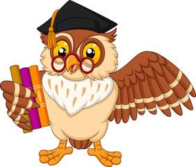 Wall Murals Owls cartoon Cartoon owl holding a book