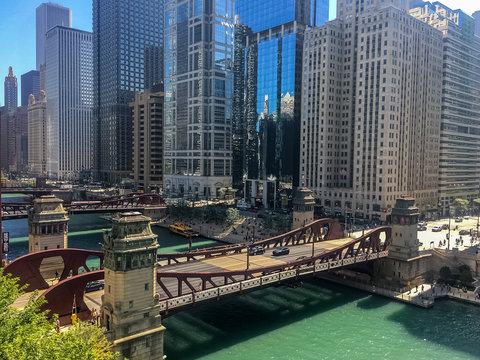 Summer afternoon in busy downtown Chicago, overlooking the Chicago River.