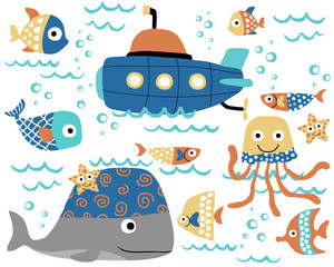 Vector of marine life with submarine