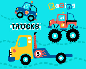 Vector of trucks racing cartoon