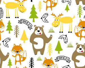 Vector seamless pattern with funny animals cartoon