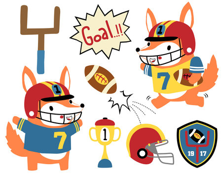 Vector set of animals rugby player cartoon