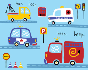 Vector set of vehicles cartoon