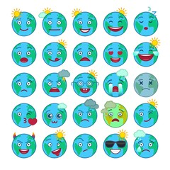 Blue world globe emoticons. Planet earth with snow, sun, rain, clouds, thunder emoji. Social communication and weather widget. Adorable faces with various emotions. Weather forecast vector elements