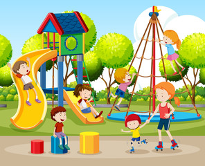 Children playing outdoors scene