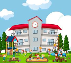 Happy kids playing on playground