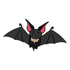 Happy halloween color vector icon with cute vampire bat. Trick or treat. Cute naive doodle, spooky element. Graveyard, monster, fall celebration. Witchcraft and magic. Vector illustration. Background.