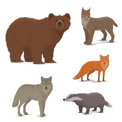 Wild forest animals fox, badger, lynx, bear icons